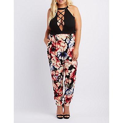 Plus Size Lattice Floral Combo Jumpsuit