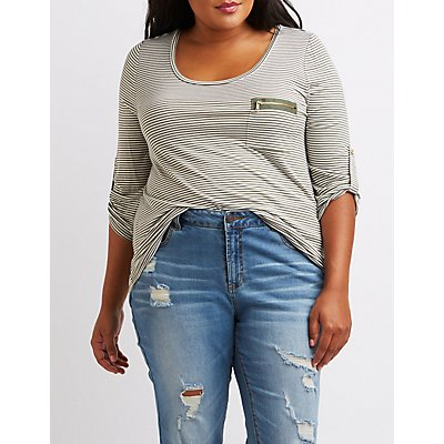 Plus Size Scoop Neck Zip-Pocket Tee