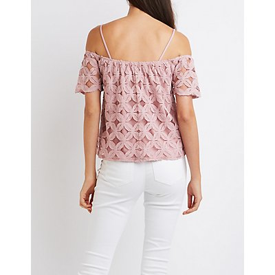 Lace Notched Cold Shoulder Top