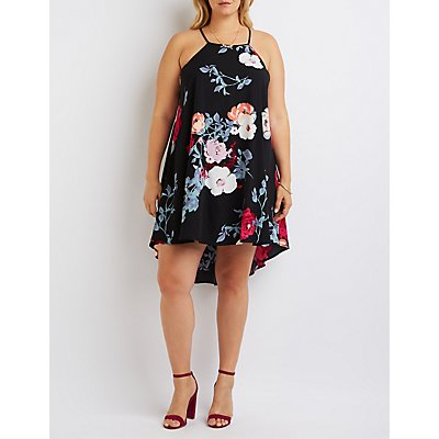 Plus Size Floral Bib Neck Shift Dress