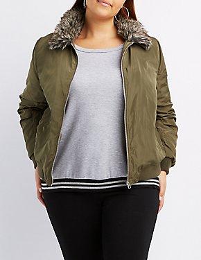 Plus Size Faux Fur Collar Bomber Jacket