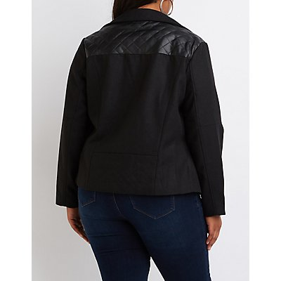 Plus Size Faux Leather-Trim Moto Jacket