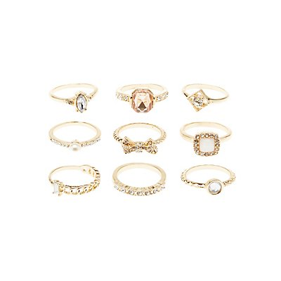 Embellished Stackable Rings - 9 Pack