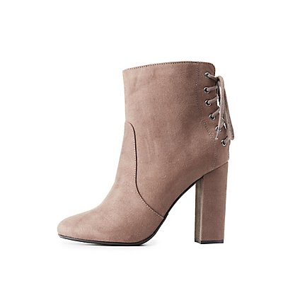 Lace-Up Back Ankle Booties