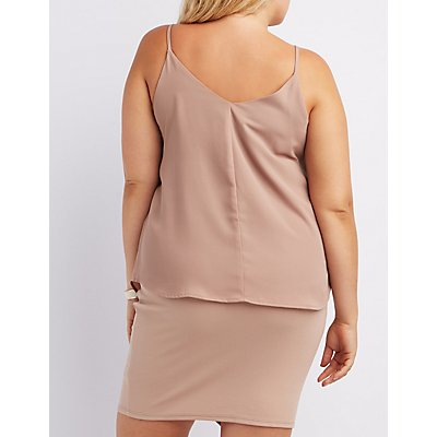 Plus Size Caged Tank Top