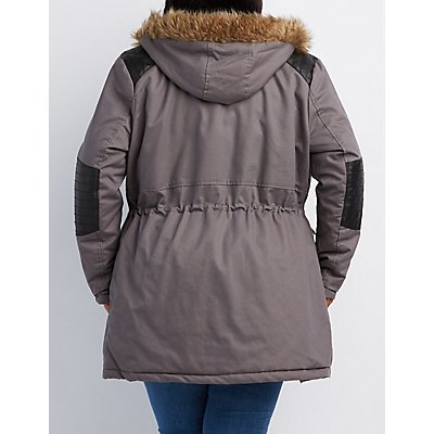 plus size faux fur & leather-trim hooded anorak jacket   charlotte