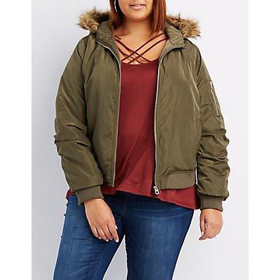 Plus Size Faux Fur-Trim Hooded Bomber Jacket