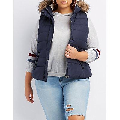 Plus Size Faux Fur-Trim Hooded Puffer Vest