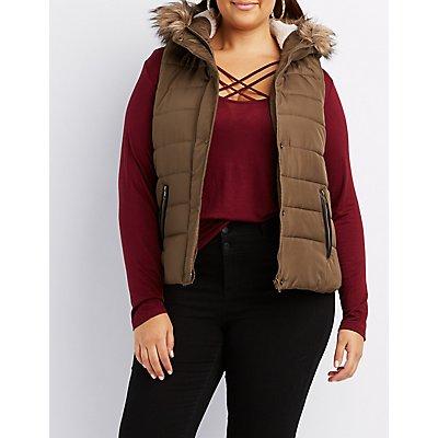 Plus Size Faux-Fur Trim Hooded Puffer Vest
