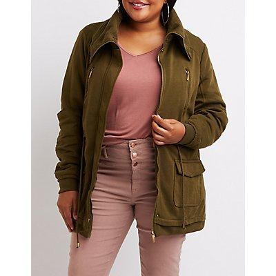 Plus Size Knit Anorak Jacket