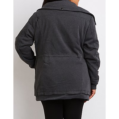 Plus Size Knit Anorak Jacket