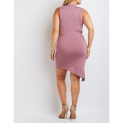 Plus Size Mock Neck Knotted Asymmetrical Dress
