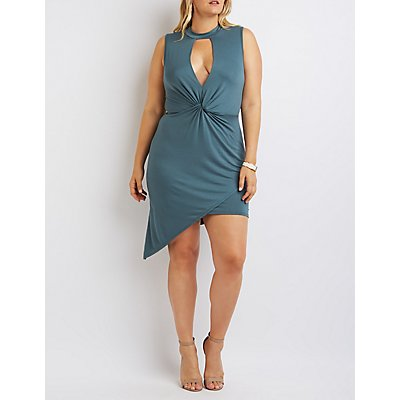Plus Size Mock Neck Knotted Asymmetrical Dress