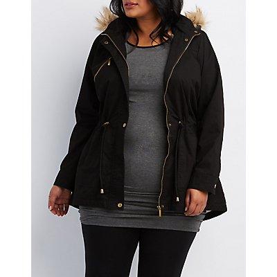 Plus Size Faux Fur-Trim Hooded Anorak Jacket