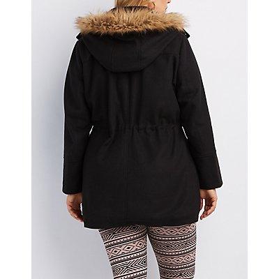 Plus Size Wool Faux Fur-Trim Anorak Jacket