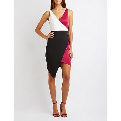 Color Block Bodycon Wrap Dress