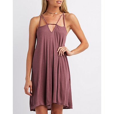 Ribbed Strappy Shift Dress