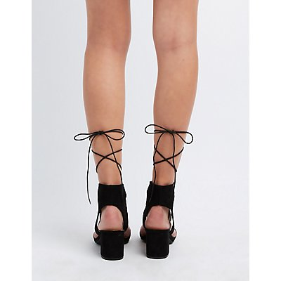 Studded Lace-Up Two-Piece Sandals