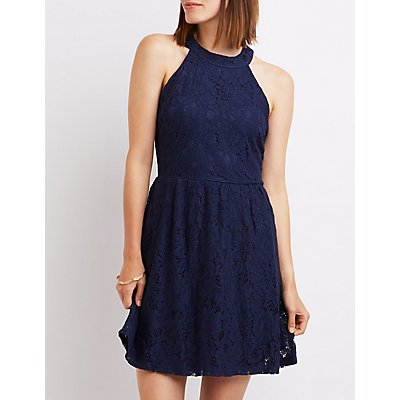 Lace Bib Neck Skater Dress