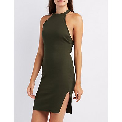 Ribbed Mock Neck Strappy Dress
