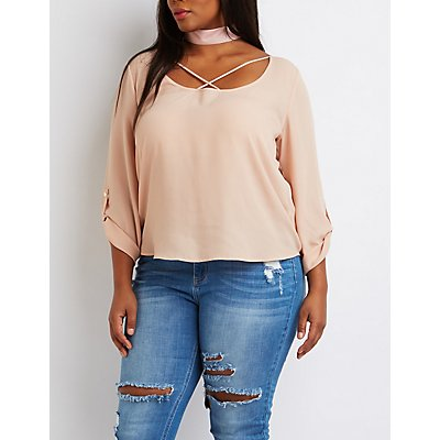 Plus Size Strappy Scoop Neck Blouse