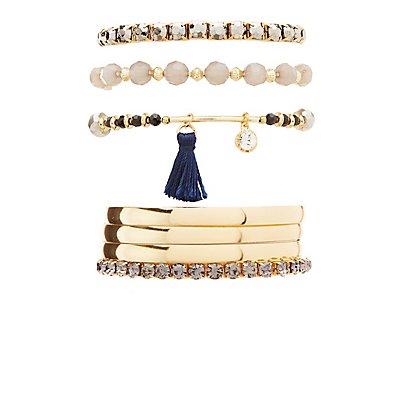 Metal, Rhinestone & Beaded Bracelets - 7 Pack