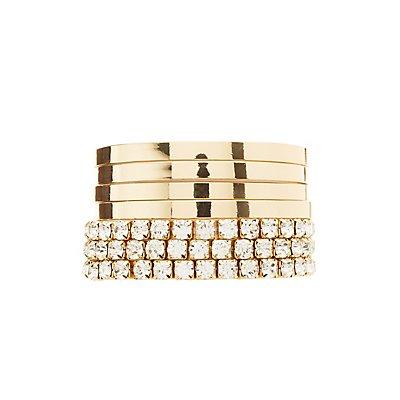 Rhinestone & Metal Layering Bracelets - 7 Pack