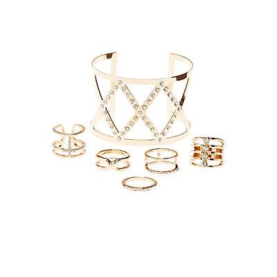 Embellished Cuff Bracelet & Rings Set