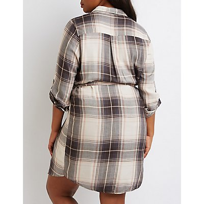 Plus Size Belted Plaid Shirt Dress