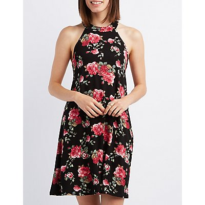 Floral Mock Neck Shift Dress