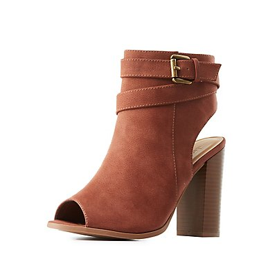 Buckled Slingback Peep Toe Booties