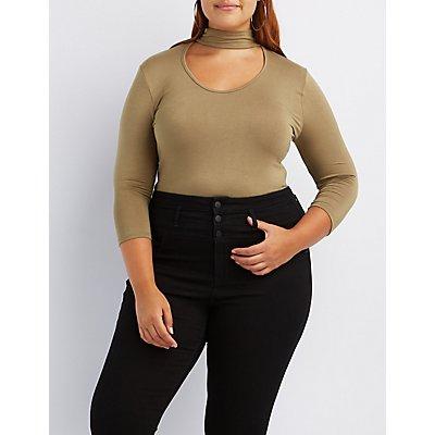 Plus Size Cut-Out Mock Neck Bodysuit
