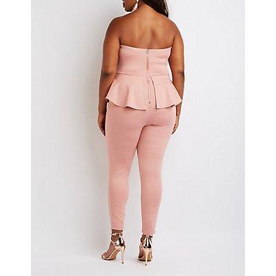 Plus Size Strapless Peplum Jumpsuit