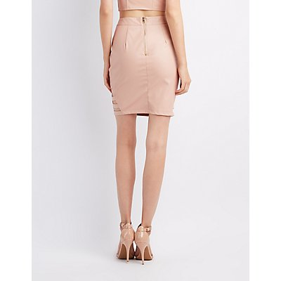 Faux Leather Caged Pencil Skirt