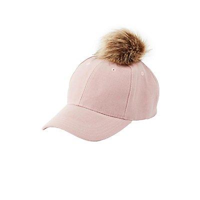 Faux Fur Pom Baseball Hat