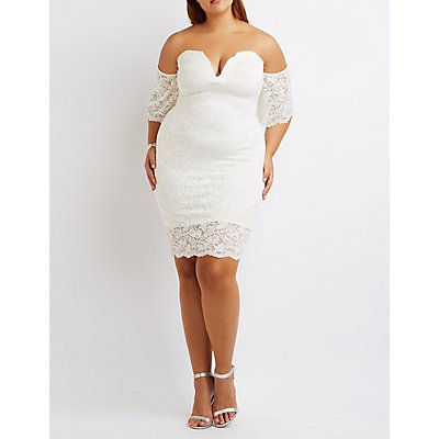 Plus Size Lace Off-The-Shoulder Notched Dress