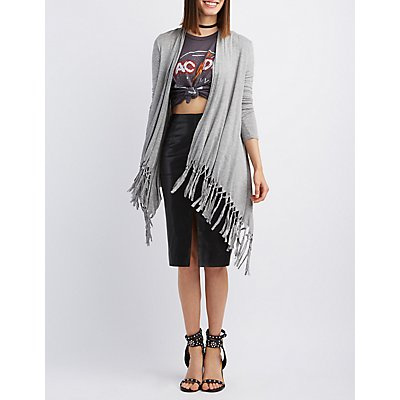 Draped Fringe Cardigan