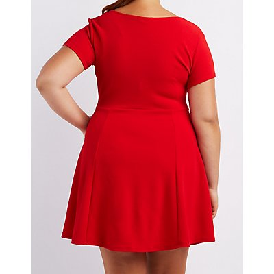 Plus Size Textured Skater Dress