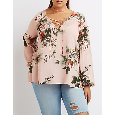 Plus Size Floral Lace-Up Blouse