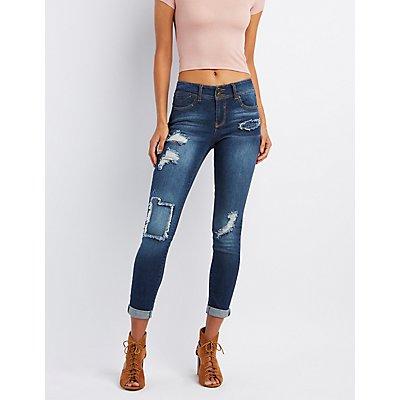 Distressed Patchwork Skinny Boyfriend Jeans