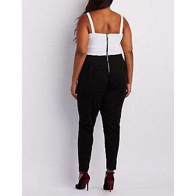 Plus Size Strappy Colorblock Jumpsuit