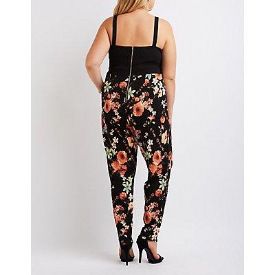 Plus Size Caged Floral Combo Jumpsuit