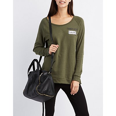 """Slay"" Patch Raglan Sweatshirt"