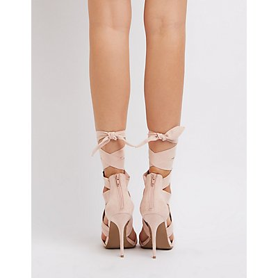 Faux Suede Ankle Wrap Dress Sandals