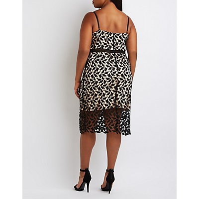 Plus Size Crochet Lace Midi Dress