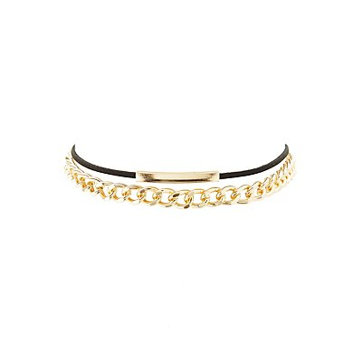 Chain & Faux Suede Choker Necklace