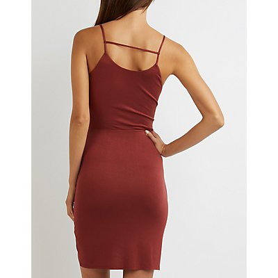 Strappy Ruched Bodycon Dress