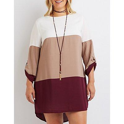 Plus Size Color Block Shift Dress