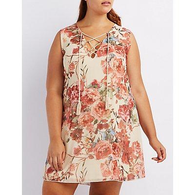 Plus Size Floral Lace-Up Shift Dress