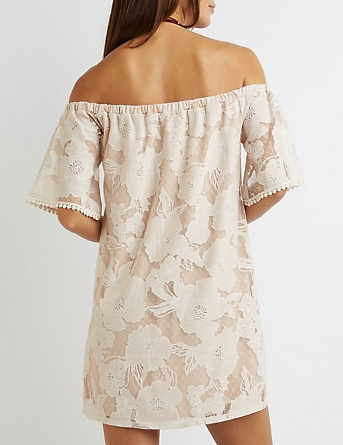 ed7b43b526f9a ... Lace Off-The-Shoulder Shift Dress